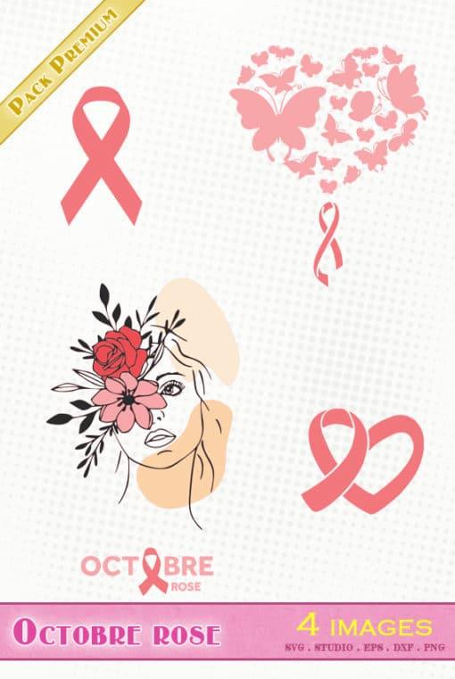 octobre rose cancer du sein fichier svg silhouette studio eps dxf png