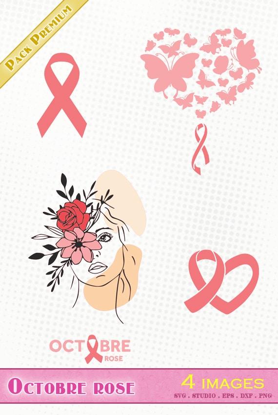 octobre rose cancer du sein fichier svg silhouette studio eps dxf png october cancer awareness