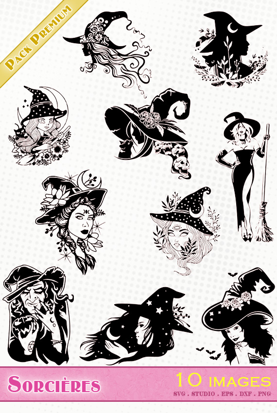 sorcière sorcières witch halloween chapeau balai fichier svg silhouette studio eps dxf png
