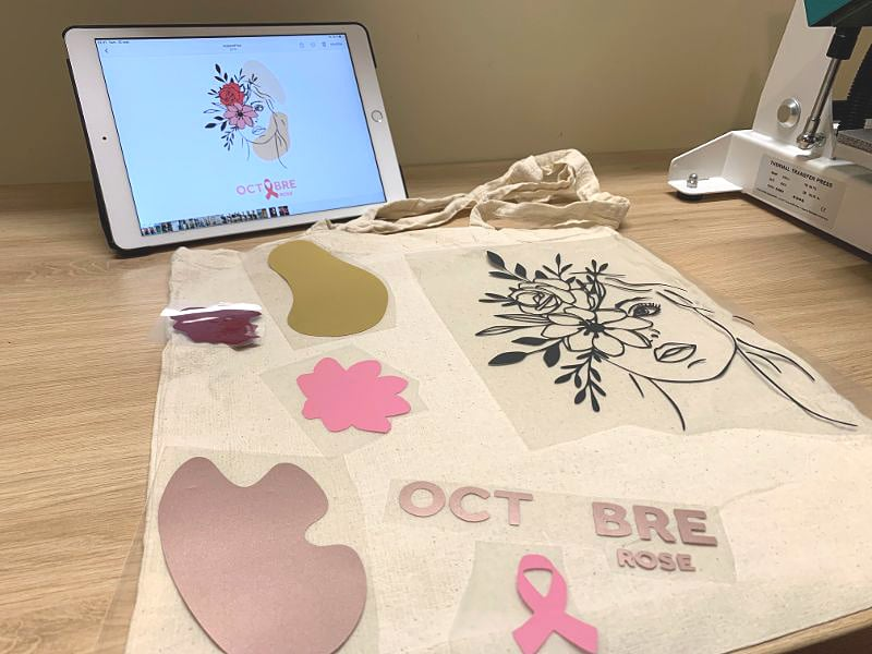 fabrication tote bag octobre rose personnalisation diy flex thermocollant