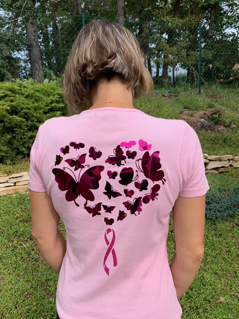 t-shirt octobre rose papillons noeud ruban cancer sein