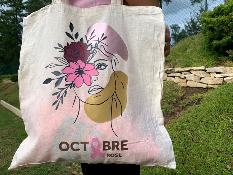 tote bac sac cabas octobre rose tissus toile octobre rose visage femme noeud ruban diy lutte recherche cancer sein