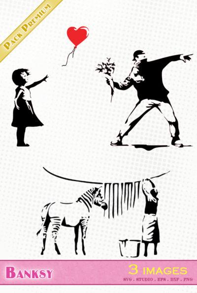 banksy street art jeteur fleurs lavage zèbre petite fille ballon flower thrower washing zebra little girl balloon svg silhouette studio png eps dxf vector file